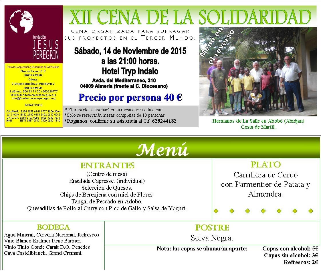 Invitacion cena Solidaridad